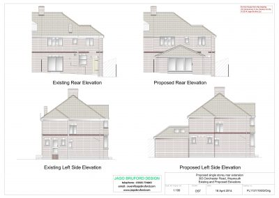 Existing and proposed elevations of single storey kitchen and dining room extension
