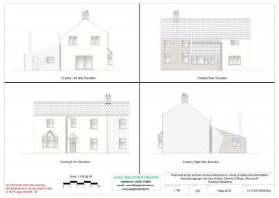 Existing elevations of single and two storey extensions creating ancillary accommodation
