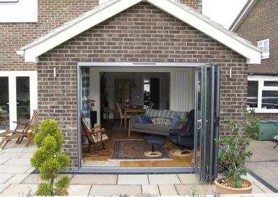 External view of completed single storey rear lounge extension