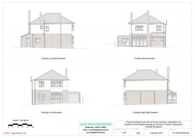 Existing elevations of single storey side and rear extensions and attached garage