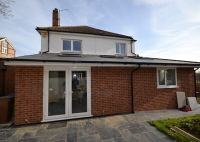 Rear view of completed single storey side and rear kitchen and dining room extension