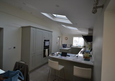 Internal view of completed single storey side and rear kitchen and dining room extension