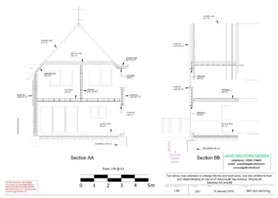 Construction sections of two storey kitchen, dining room and bedroom extension