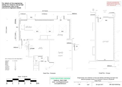 Proposed construction detail plan of single storey side and rear kitchen and dining room extension