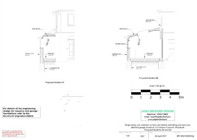 Proposed construction sections of single storey side and rear kitchen and dining room extension