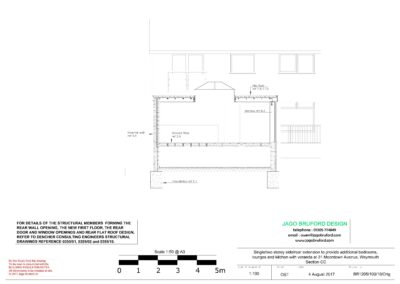 Proposed construction sections of single and two storey extensions creating lounge, dining room, kitchen and bedroom with en suite bathrooms