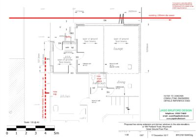 Proposed detail construction ground floor plan of two storey lounge, utility room and bedroom extensions