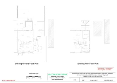 Existing ground and first floor plans of single and two storey extensions creating lounge, dining room, kitchen and bedroom with en suite bathrooms