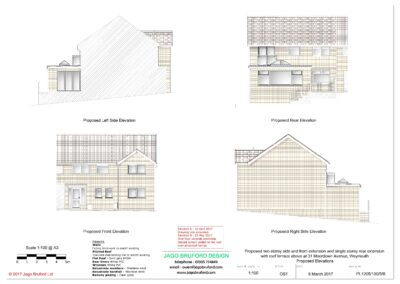 Proposed elevations of single and two storey extensions creating lounge, dining room, kitchen and bedroom with en suite bathrooms