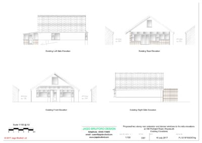 Existing elevations of two storey lounge, utility room and bedroom extensions