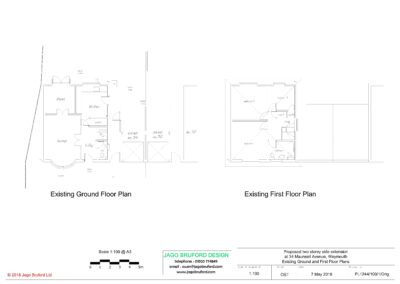 Existing ground and first floor plans of completed two storey extension creating lounge, utility and bedroom with en suite bathroom