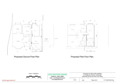 Proposed ground and first floor plans of completed two storey extension creating lounge, utility and bedroom with en suite bathroom