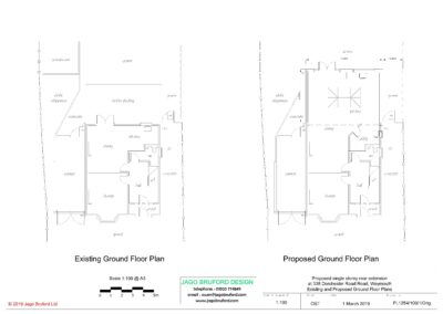 Existing and proposed floor plans of completed of single storey kitchen and dining room extension