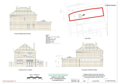 Proposed elevations of completed of single storey kitchen and dining room extension